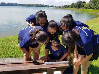 Girls solving a given clue together during Sea Challenge