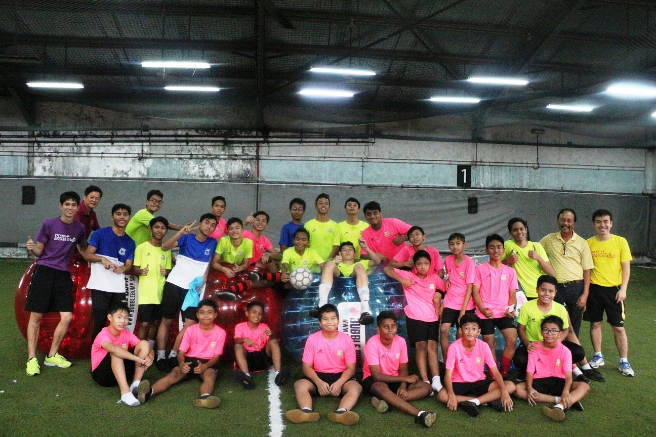 Group photo for Bubbleball Soccer event (12 May 2017)