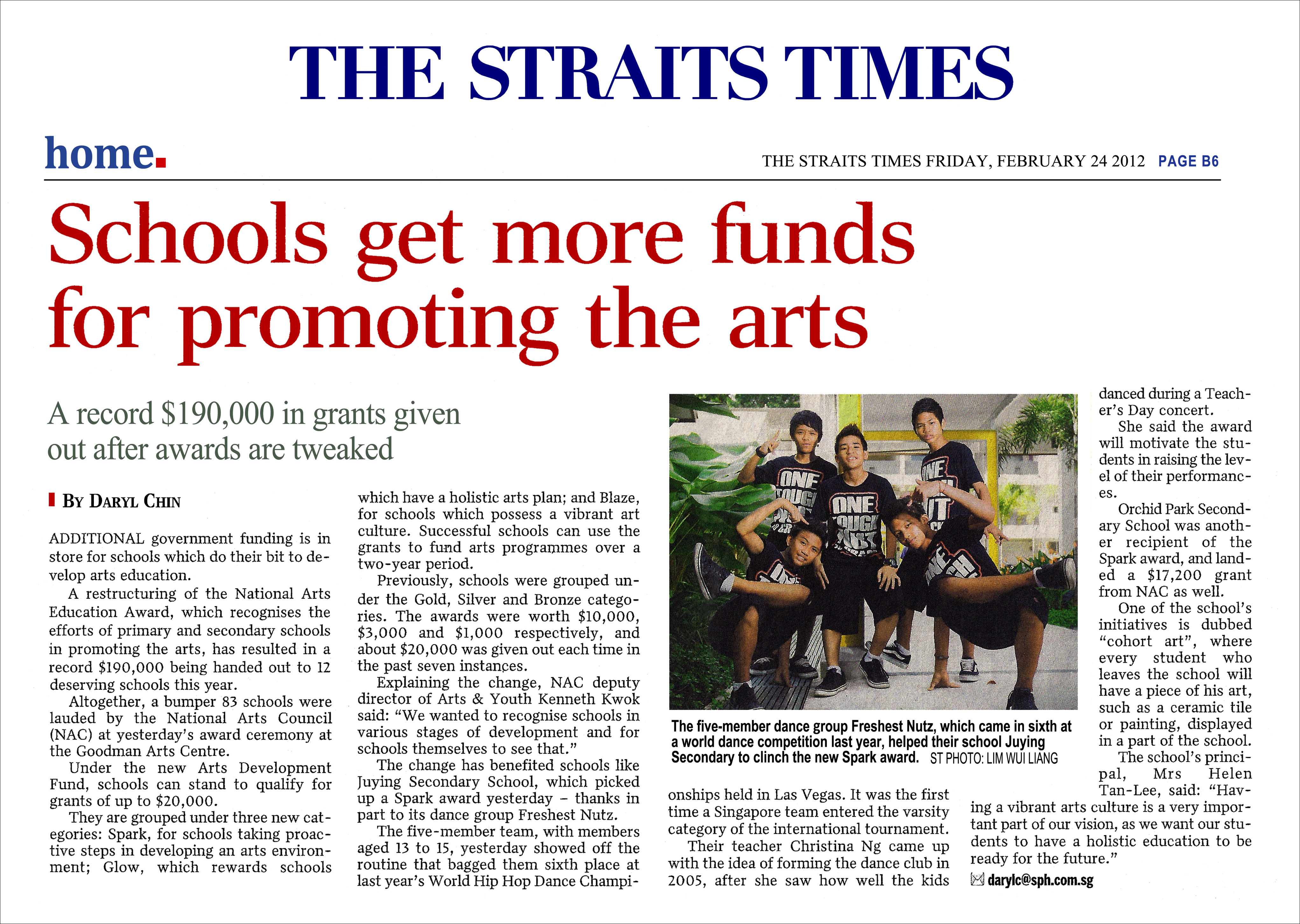24Feb2012 Straits Times JYSS receiving National Arts Education SPARKS Award.jpg